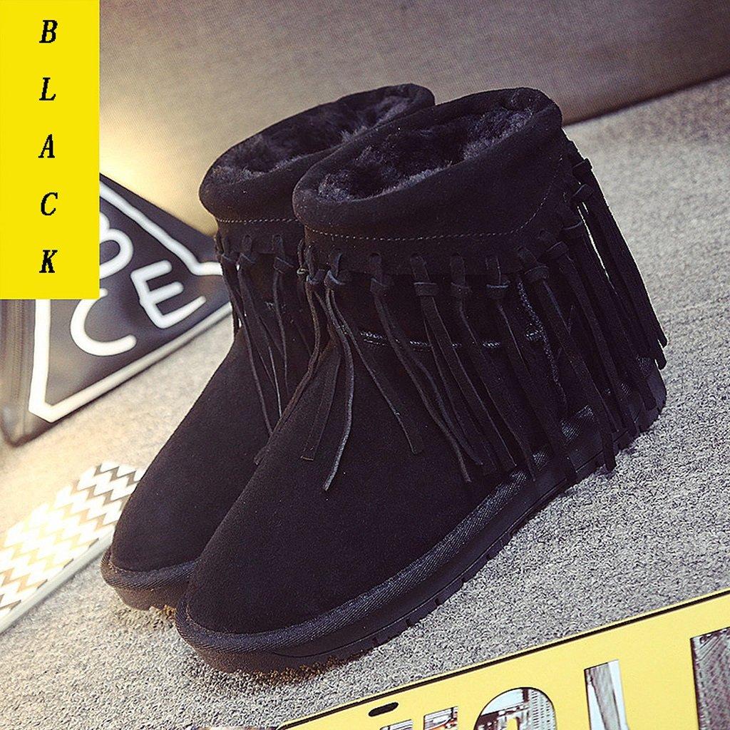 Weibliche Winter Schnee Stiefel Quaste Leder Stiefel Stiefel Stiefel Studenten Verdickung warme Baumwolle Stiefel Trend - flache Schuhe ( Farbe   Schwarz , größe   US 6\UK 5\EUR 37 ) 62f1ae