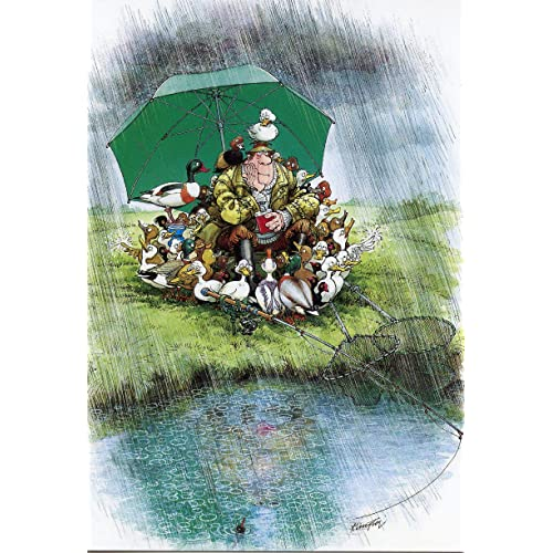 FISHING RAINY DUCK DAYS FUNNY HUMOROUS BIRTHDAY CARD THE SIDE OF LIFE