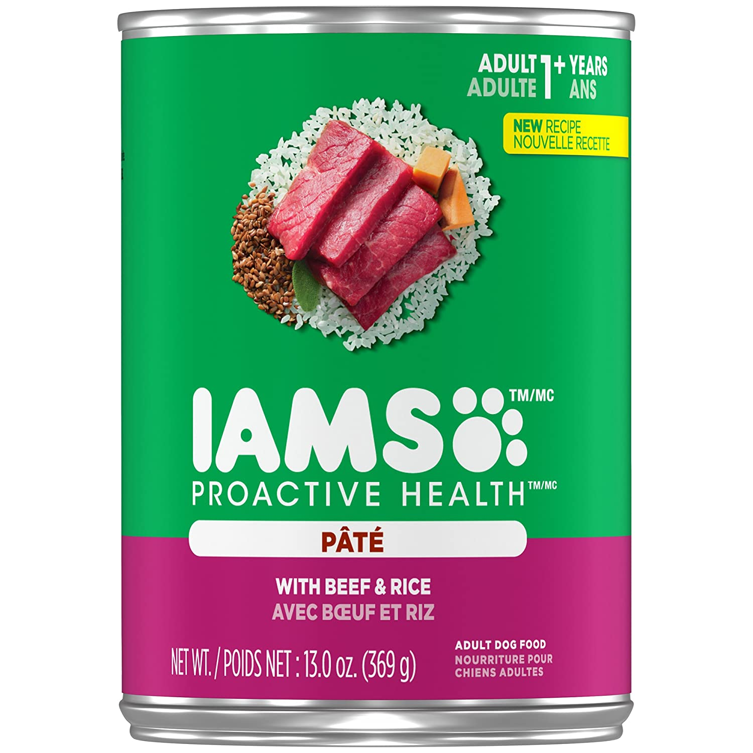 13 oz (Pack of 12) Iams Proactive Health Adult With Beef And Rice Pate Wet Dog Food 13.0 Ounces (Pack Of 12)