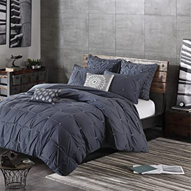 Ink+Ivy Masie Duvet Cover King/Cal King Size - Navy, Elastic Embroidery Tufted Ruffles Duvet Cover Set – 3 Piece – 100% Cotton Percale Light Weight Bed Comforter Covers