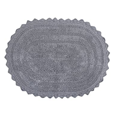 DII Ultra Soft Spa Cotton Crochet Oval Bath Mat or Rug Place in Front of Shower, Vanity, Bath Tub, Sink, and Toilet, 17 x 24  - Gray