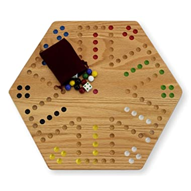 AmishToyBox.com Oak Hand-Painted Double-Sided Aggravation Game Board, 16  Wide