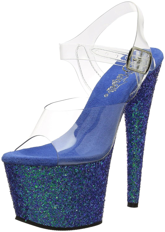 Pleaser Women's Adore-708LG Sandal B01N1I5N3F 5 B(M) US|Clr/Blue Holo Glitter