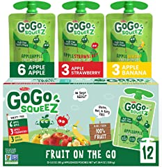 GoGo squeeZ Fruit on the Go Variety Pack, Apple Apple, Apple Banana, & Apple Strawberry, 3.2 oz. (12 Pouches) - Tasty Kids Ap
