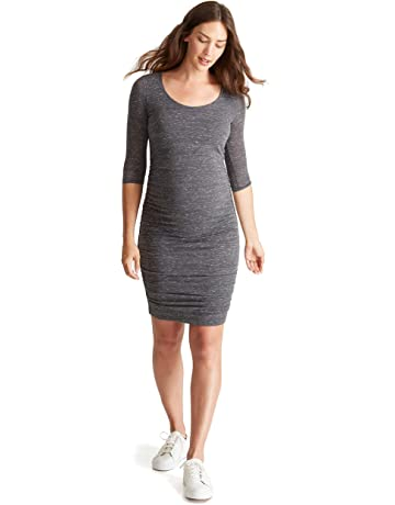 49340e7dd25 Ingrid   Isabel Women s Ruched Maternity Bodycon Dress Causual Short Sleeve  3 4 Sleeve Dress