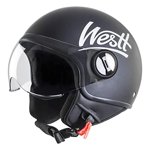 Westt Classic · Casco Moto Abierto Negro Mate con Visera ECE Homologado · Casco Moto Jet