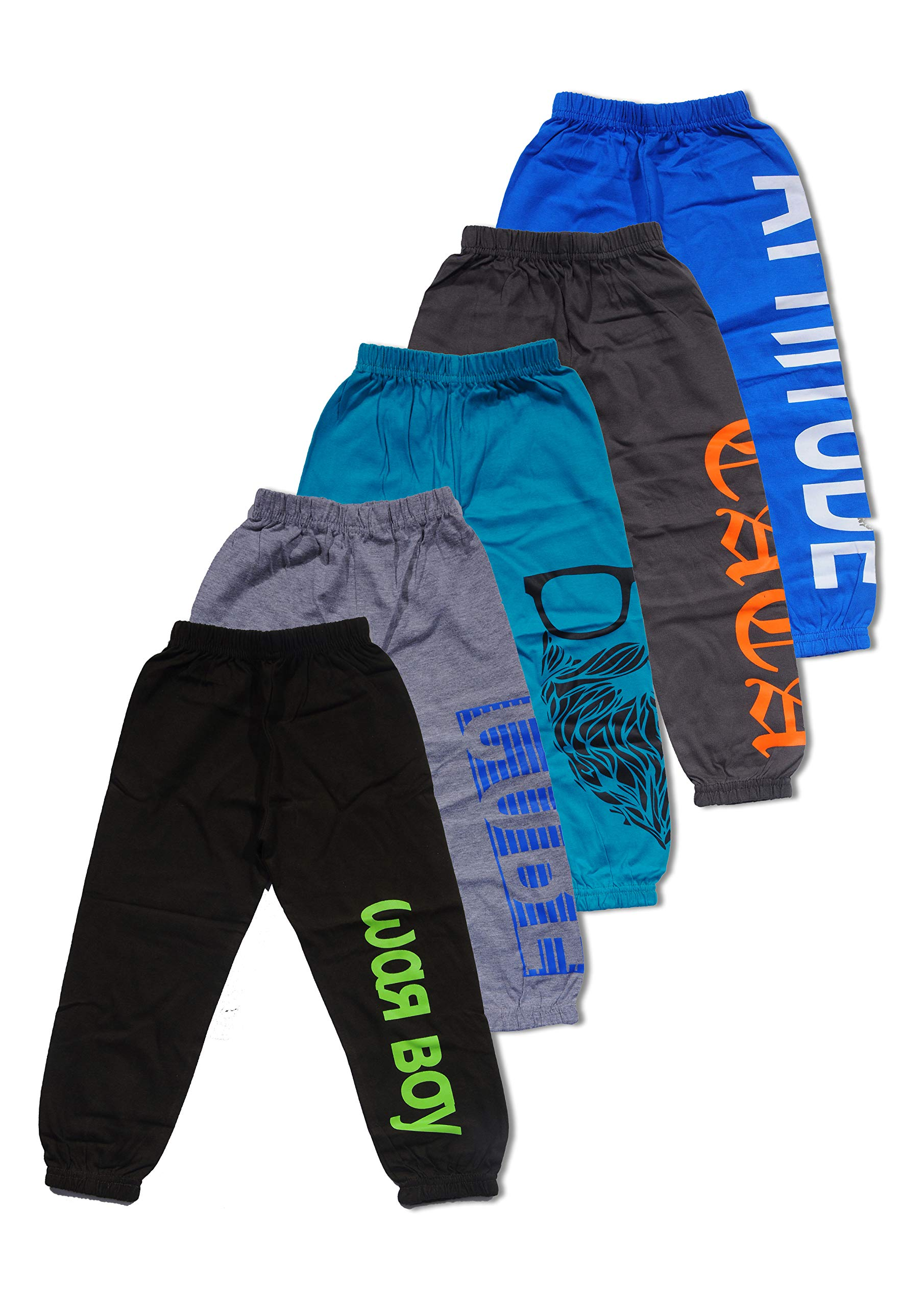 T2F Boys' Printed Track Pants (Pack of 5, Multicolor) product image