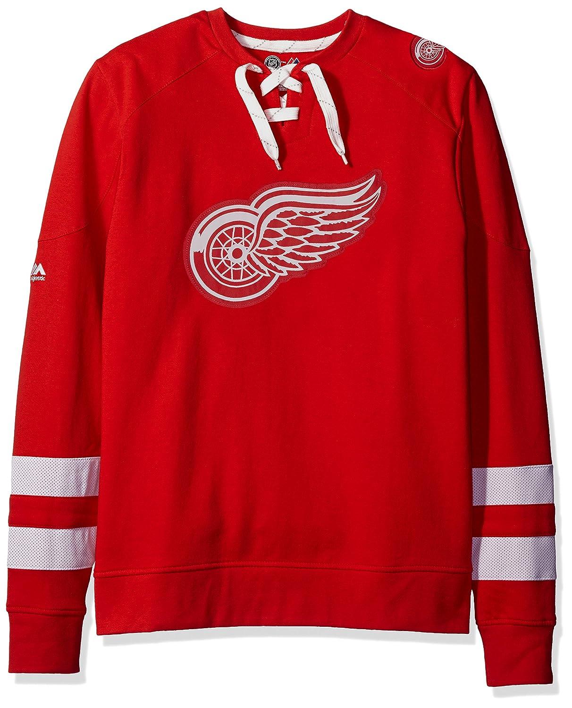 "Detroit ROT Wings Majestic NHL ""Centre"" Men's Pullover Crew Sweatshirt"