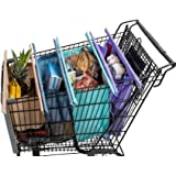 Lotus Trolley Bags -set of 4 -w/LRG COOLER Bag & Egg/Wine holder! Reusable Grocery Cart Bags sized for USA. Eco-friendly 4-Ba