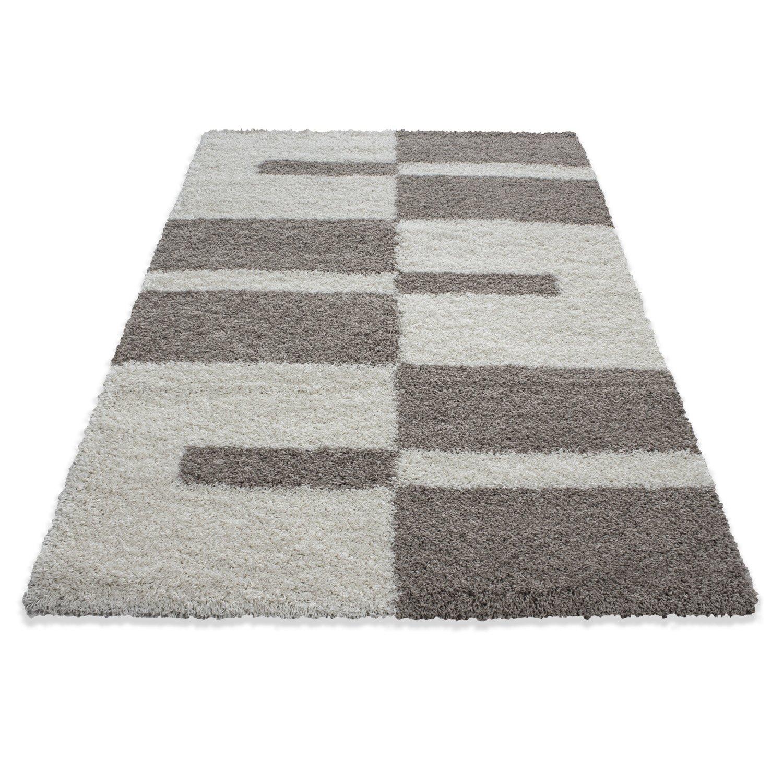 Hochflor Shaggy Teppich Rechteckig und Rund 3 cm Florhöhe Kariert Wohnzimmer, Farbe Grau, Maße 240x340 cm B077LWM45V Teppiche