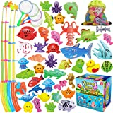 CozyBomB Magnetic Fishing Game Toys Set for Kids - Water Table Bathtub Kiddie Pool Party with Pole Rod Net, Plastic Color Oce