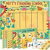 Potty Training Chart for Toddlers – Dinosaur Design with Kids Cartoon - Sticker Chart, 4 Week Reward Chart, Certificate, Inst