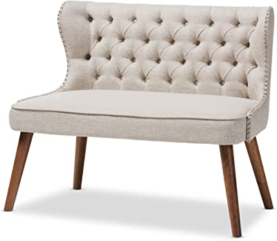 Baxton Studio Sydney Walnut Wood Button-Tufting with Nailheads Trim 2-Seater Loveseat Settee, Light Beige