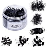 A+DAY 240 pcs Binder Clips, Paper Clips, Rubber Bands, Paper Clamps Assorted Size, Jumbo Paper Clips, Small Paper Clips, Larg