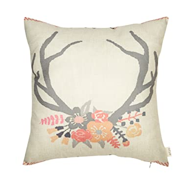 Fjfz Cotton Linen Home Decorative Throw Pillow Case Cushion Cover for Sofa Couch Tribal Girl Nursery Deer Head Antler Flower, Pink and Grey, 18  x 18