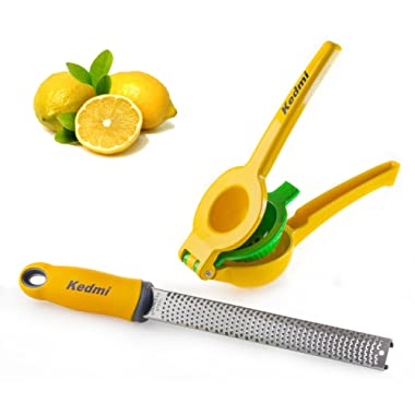 Lemon-Lime Squeezer/Zester Set, Manual Stainless Steel Citrus Press, plus Citrus Tool with Protective Cover to Grate Citrus/Garlic/Ginger, by Kedmi Kitchenware, Easy-to-Clean, FDA Approved