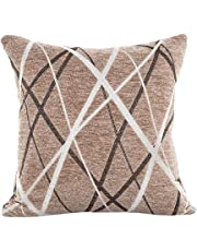 Bokeley Pillow Case, Plush Square Striped Decorative Throw Pillow Case Bed Home Decor Cushion Cover (Coffee)