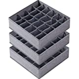 3 Pack Sock Underwear Organizer Dividers, 64 Cell Fabric Foldable Cabinet Closet Organizers and Storage Boxes for Storing Soc