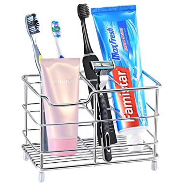 Famistar Toothbrush Holder, Stainless Steel Bathroom Storage Organizer Stand Rack - Multi-Functional 6 Slots for Electric Toothbrush, Toothpaste, Cleanser, Comb, Razor