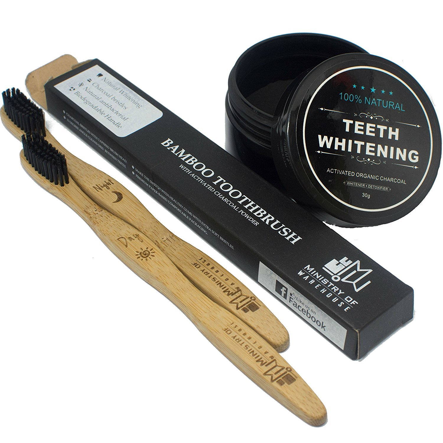 Bamboo Toothbrush w/Oral Hygiene Natural Teeth Whitening Organic Activated Charcoal Powder Set