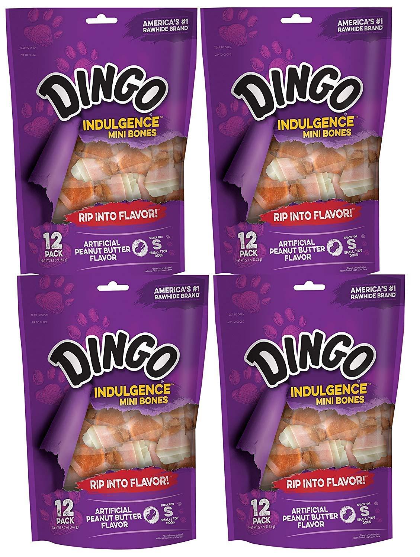 48-Count Dingo Indulgence Mini Bones, Peanut Butter Flavor, 48-Count