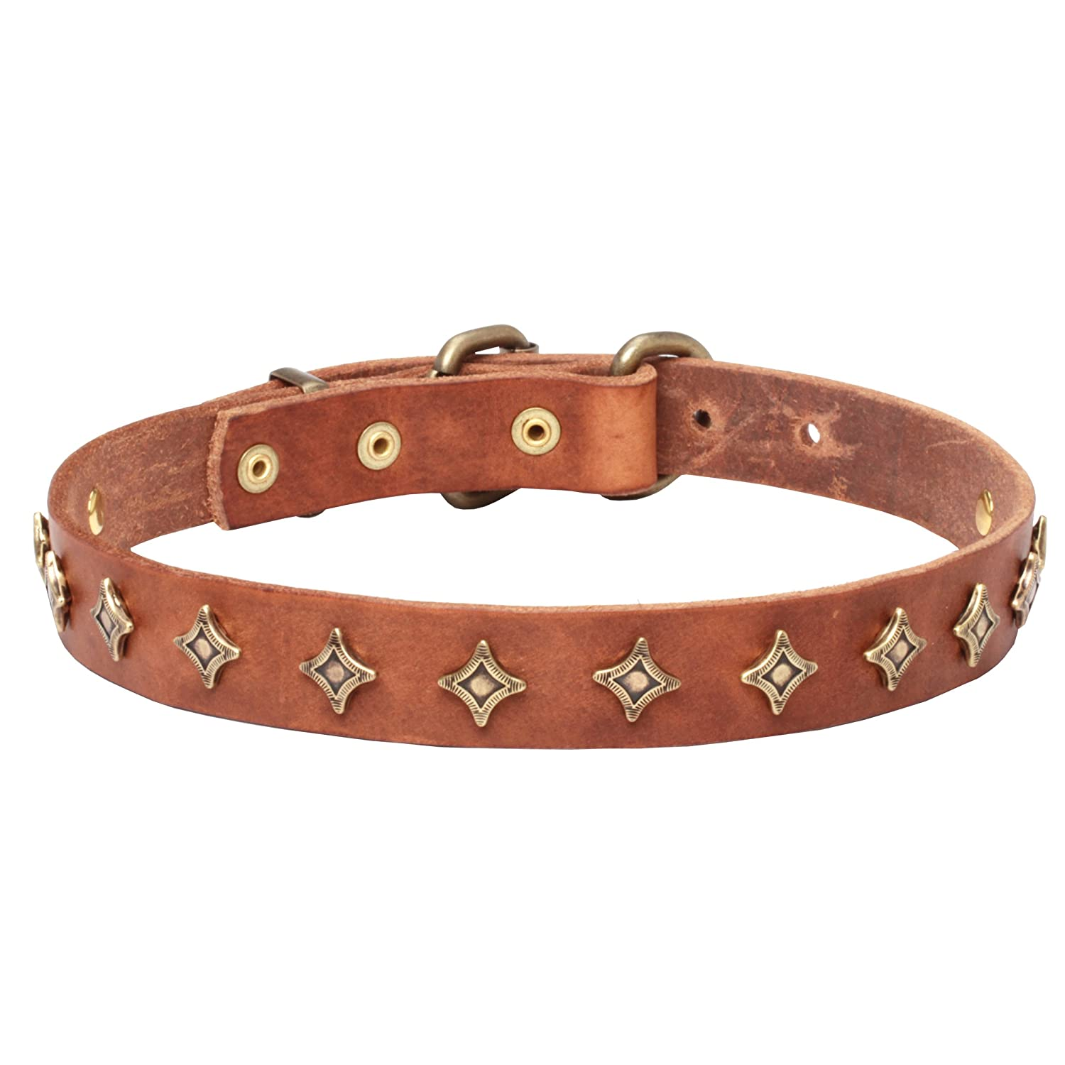 Tan fits for 19 inch dog's neck size Tan fits for 19 inch dog's neck size 19 inch Narrow Tan Leather Dog Collar  Yellow star  with Old-like Bronze Decoration 1 inch (25 mm) wide