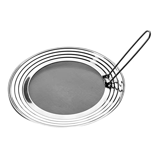 GAINWELL Splatter Screen for Frying Pans - Fits 24/26/28/30cm - Splatter Guard Prevents Oil Burns and Spills - Perfect Stainless Steel Grease Screen for Cooking