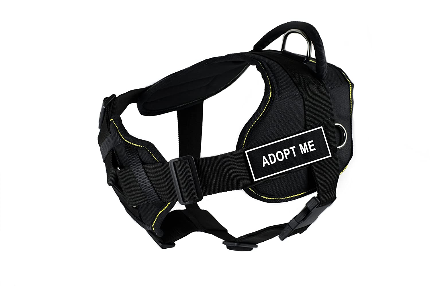Dean & Tyler Fun Harness with Padded Chest Piece, Adopt Me, Large, Black with Yellow Trim