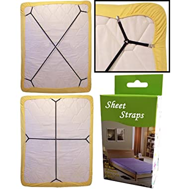 2pcs/set Sheet Bed Suspenders Adjustable Crisscross Fitted Sheet Band Straps Grippers Adjustable Mattress Pad Duvet Cover Bed Sheet Corner Holder Elastic Straps Fasteners Clips Grippers Clippers
