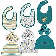 Lictin Newborn Unisex Baby Cotton Caps Mittens Bib - 100% Cotton 3 pcs Bibs, 3pcs Baby Cotton Caps Hats, 3 Pairs Baby Scratch Mittens Gloves for Baby(1-6 Months) Green