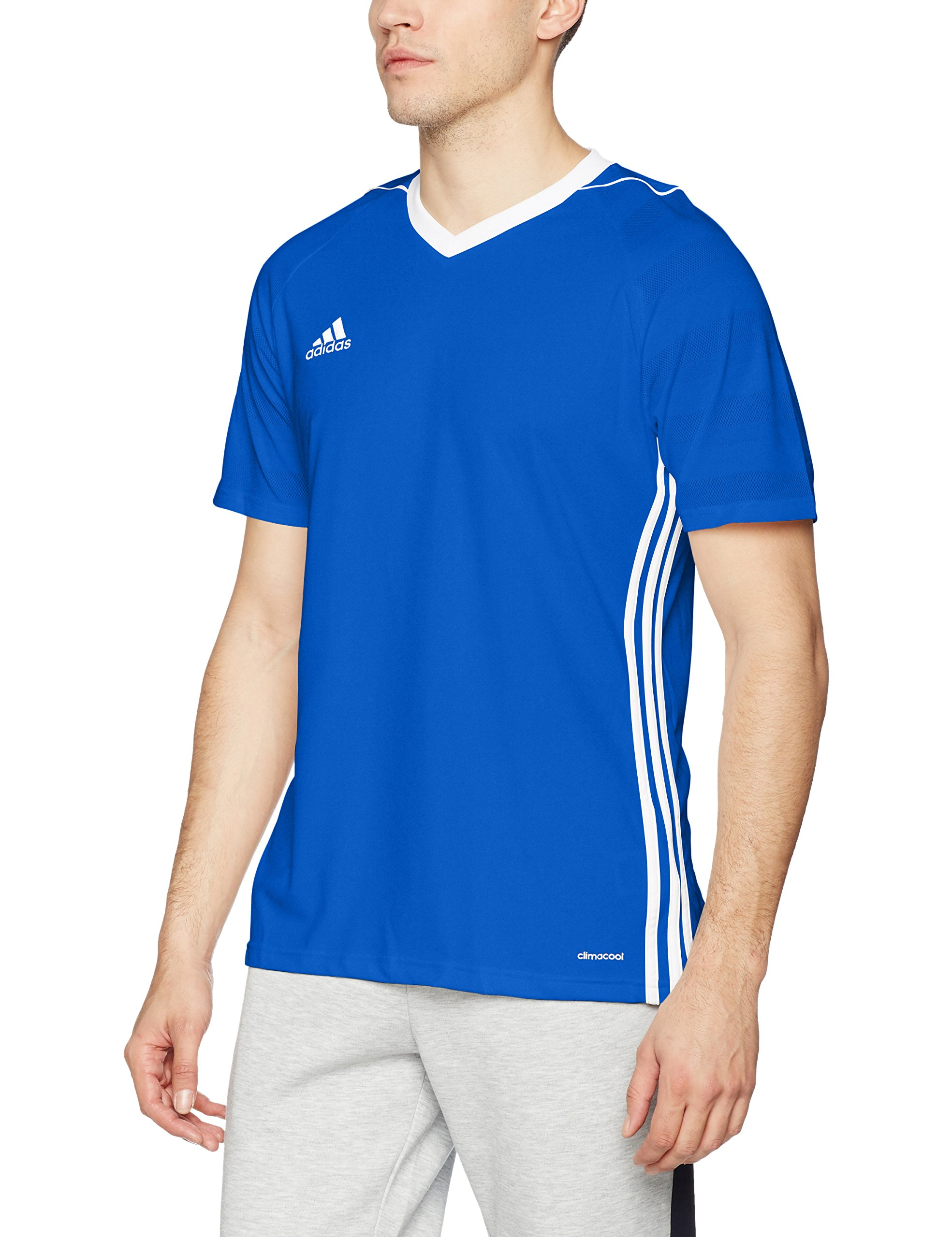 adidas Tiro 17 JSY Camiseta de Manga Corta, Hombre, Azul (Azufue/Blanco