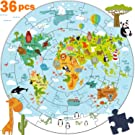 iPlay, iLearn Kids Wooden World Map Jigsaw Puzzle Toy, Jumbo Floor Puzzle w/ Continents, Oceans & Animals, Educational Geography Gift for 2, 3, 4, 5, 6 Years Old Boys, Girls, Toddlers & Children