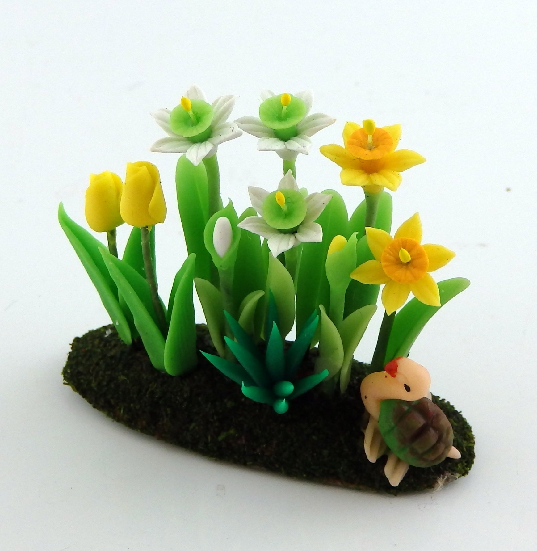 Melody Jane Dolls House 4 Daffodil Vases Decorative Miniature Ornament Accessory