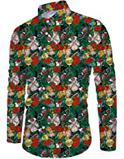 Belovecol Men's Button Down Christmas Floral Shirt Casual Long Sleeve Xmas T-Shirt
