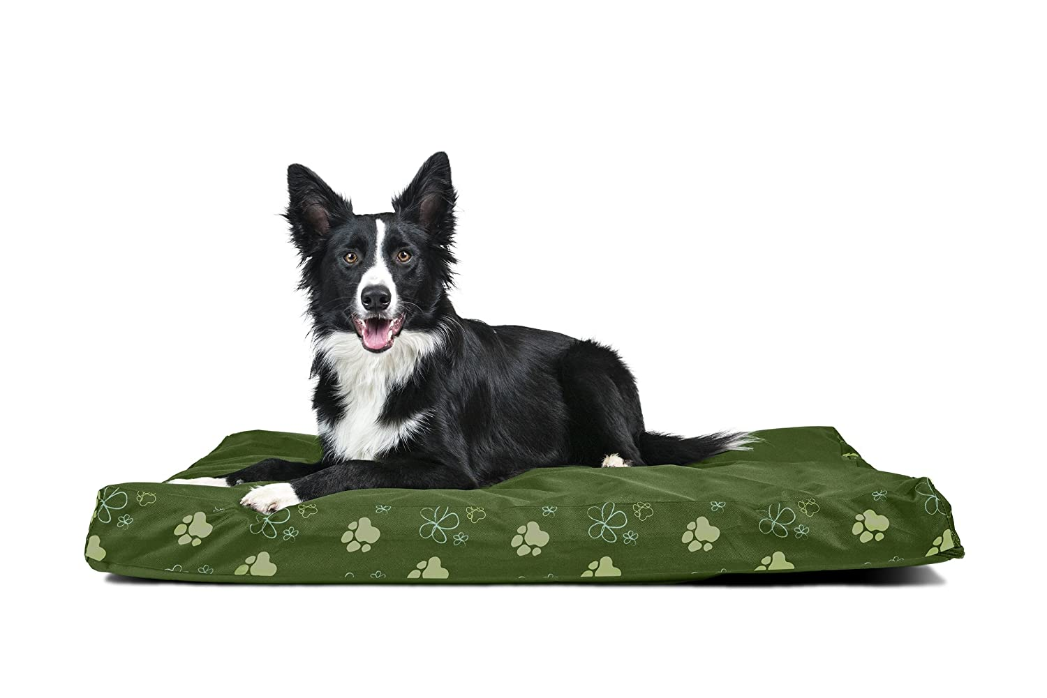 Jungle Green L Jungle Green L Furhaven Pet Large Garden Indoor Outdoor Deluxe Memory Foam Pet Bed, Polycanvas Jungle Green