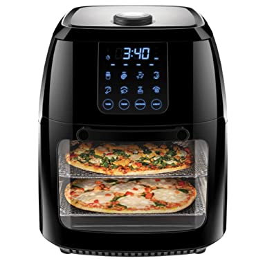 Chefman 6 Liter Digital Air Fryer+ Rotisserie, Dehydrator, Convection Oven, 8 Presets to Air Fry, Roast, Dehydrate, Bake & More, BPA-Free, Auto Shut-Off, Accessories Included, XL Family Size, Black