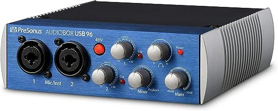 Amazon.com: PreSonus AudioBox USB 96 2x2 USB Audio Interface, Blue, PC/Mac - 2 Mic Pres: PreSonus: Musical Instruments