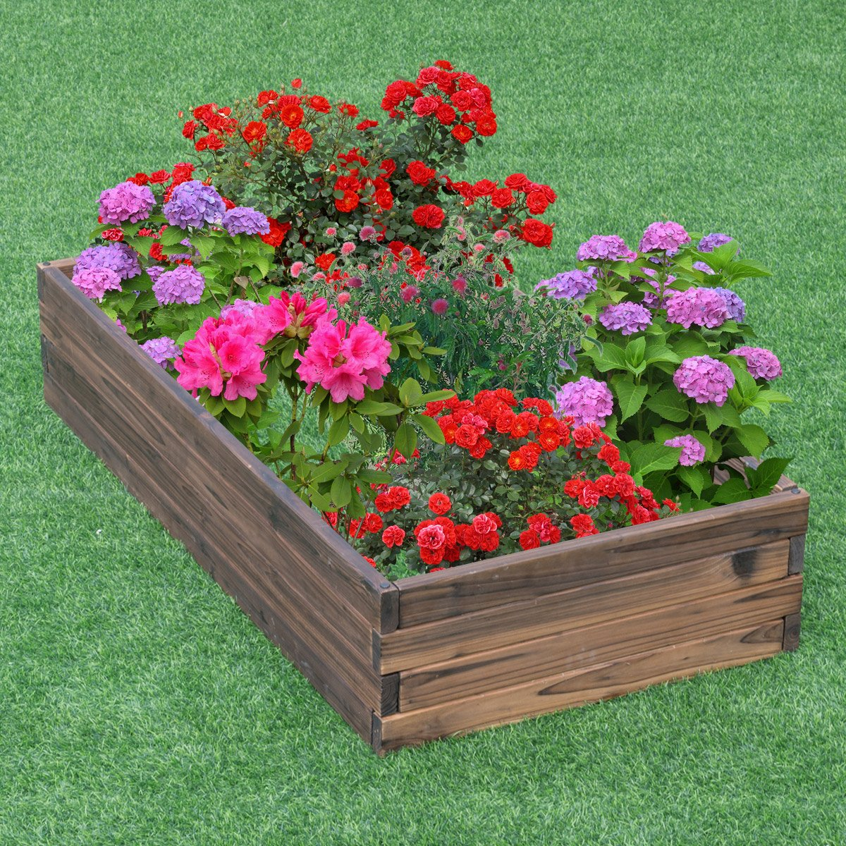 Giantex Raised Garden Bed Wood Outdoor Patio Vegetable