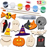 JOYIN 12 Halloween Arts & Crafts Wood Magnet Creativity Painting Kit Decorate Your Own for Kids Paint Gift, Family Games, Tri
