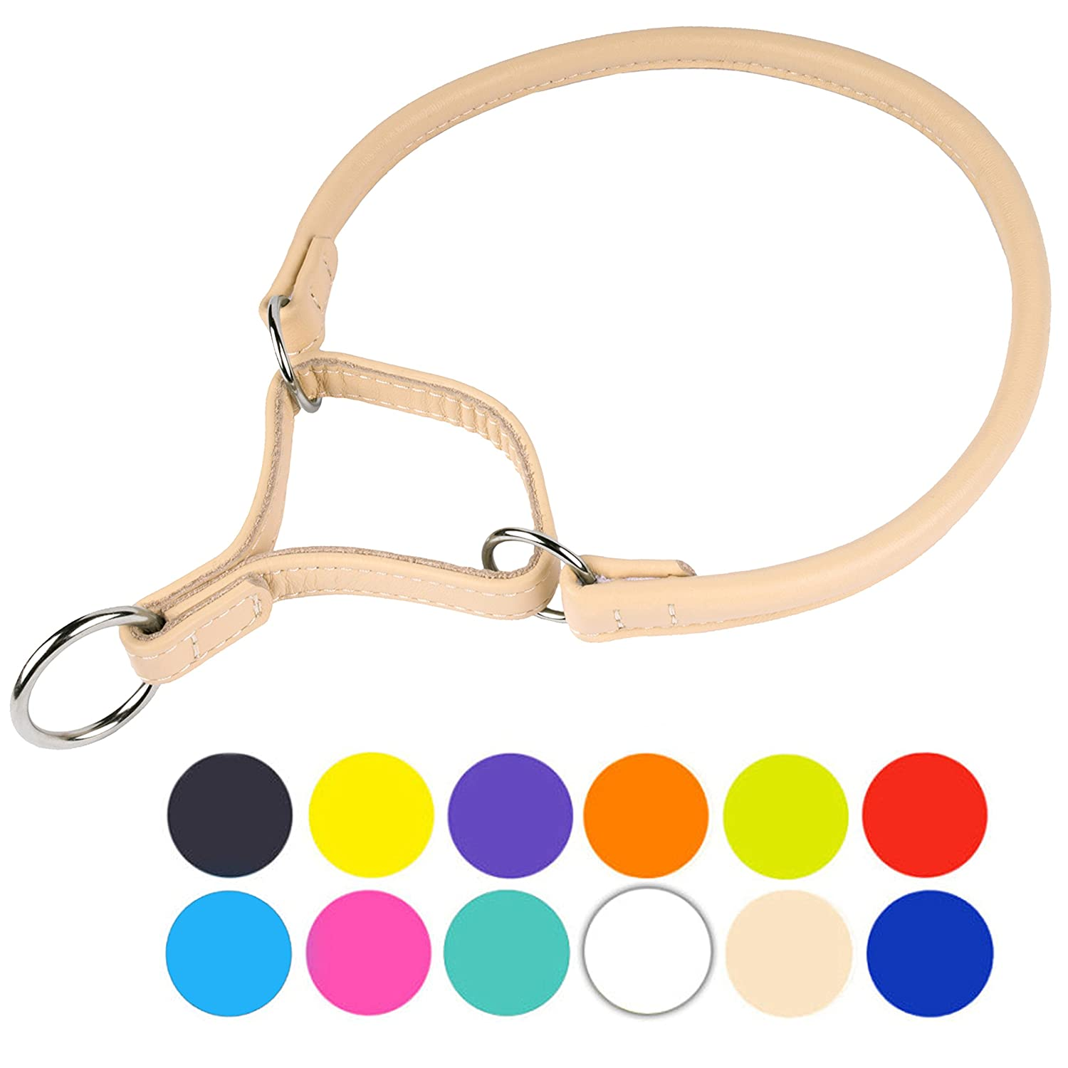 Beige Neck Fit 24\ Beige Neck Fit 24\ CollarDirect Rolled Martingale Dog Collar, Training Genuine Leather Collars for Dogs Small Medium Large Puppy Black Pink Brown White Red Green bluee orange (Beige, Neck Fit 24 -25 )