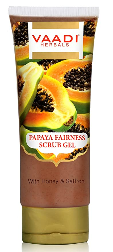 Vaadi Herbals Papaya Fairness Scrub Gel with Honey and Saffron, 110g x 2 Blistex Medicated Mint Lip Balm, Seals in Moisture to Soothe and Prevent Dry Lips, Smooth Easy-Gliding Protection, Anti-Aging, Lip Protectant and Sunscreen, SPF 15, 0.15 oz
