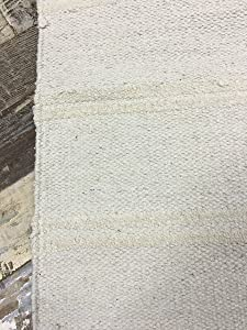 Cotone Naturale e Juta Grigio Crema Double Stripe Tappeto 70cm x 130cm