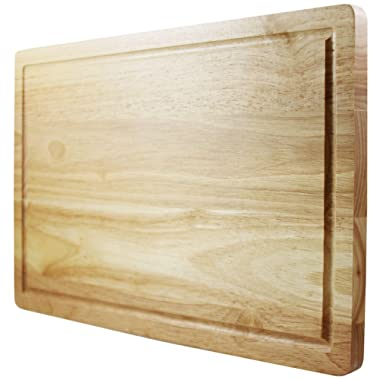 Large Wood Cutting Board For Kitchen - 16 x 10 Inch - Thick, Sturdy Hardwood Chopping Board With Juice Groove - Reversible Design