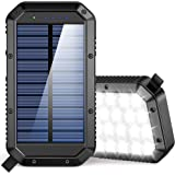 Solar Charger Power Bank 25000mAh, 36 LEDs Emergency Portable Solar Battery Charger with 3 Output Ports External Battery Pack