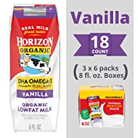 Horizon Organic Shelf-Stable 1% Lowfat Milk Boxes with DHA Omega-3, Vanilla, 8 oz., 6 Pack (Pack of 3)