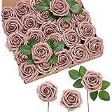 Ling's moment 50pcs Dusty Rose Artificial Roses Flowers with Stem for DIY Wedding Bouquets Centerpieces Floral Arrangements D