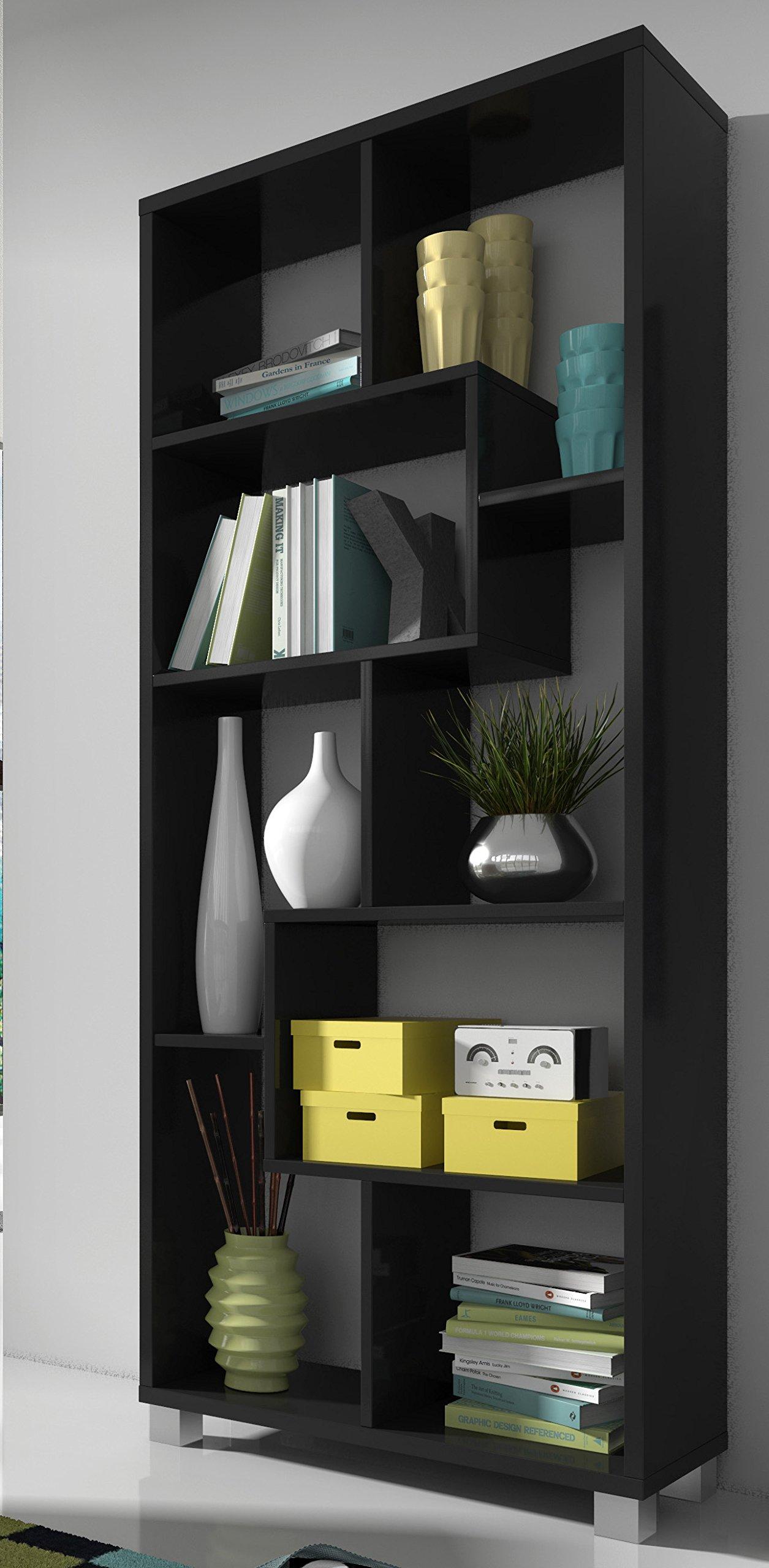 SelectionHome - Estantería librería de diseño Comedor salón, Color Negro Mate, Medidas: 68