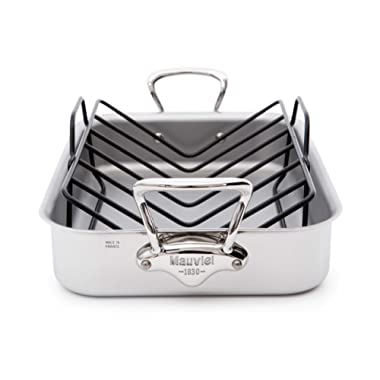 Mauviel Made In France M'Cook 5 Ply Stainless Steel 5217.15 15.7 by 11.8-Inch Rectangular Roasting Pan and Rack with Cast Stainless Steel Handles