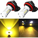 Alla Lighting H11 H8 LED Bulbs 3000K Golden Yellow Xtreme Super Bright Fog Light DRL High Power 3030 SMD Replacement for Cars