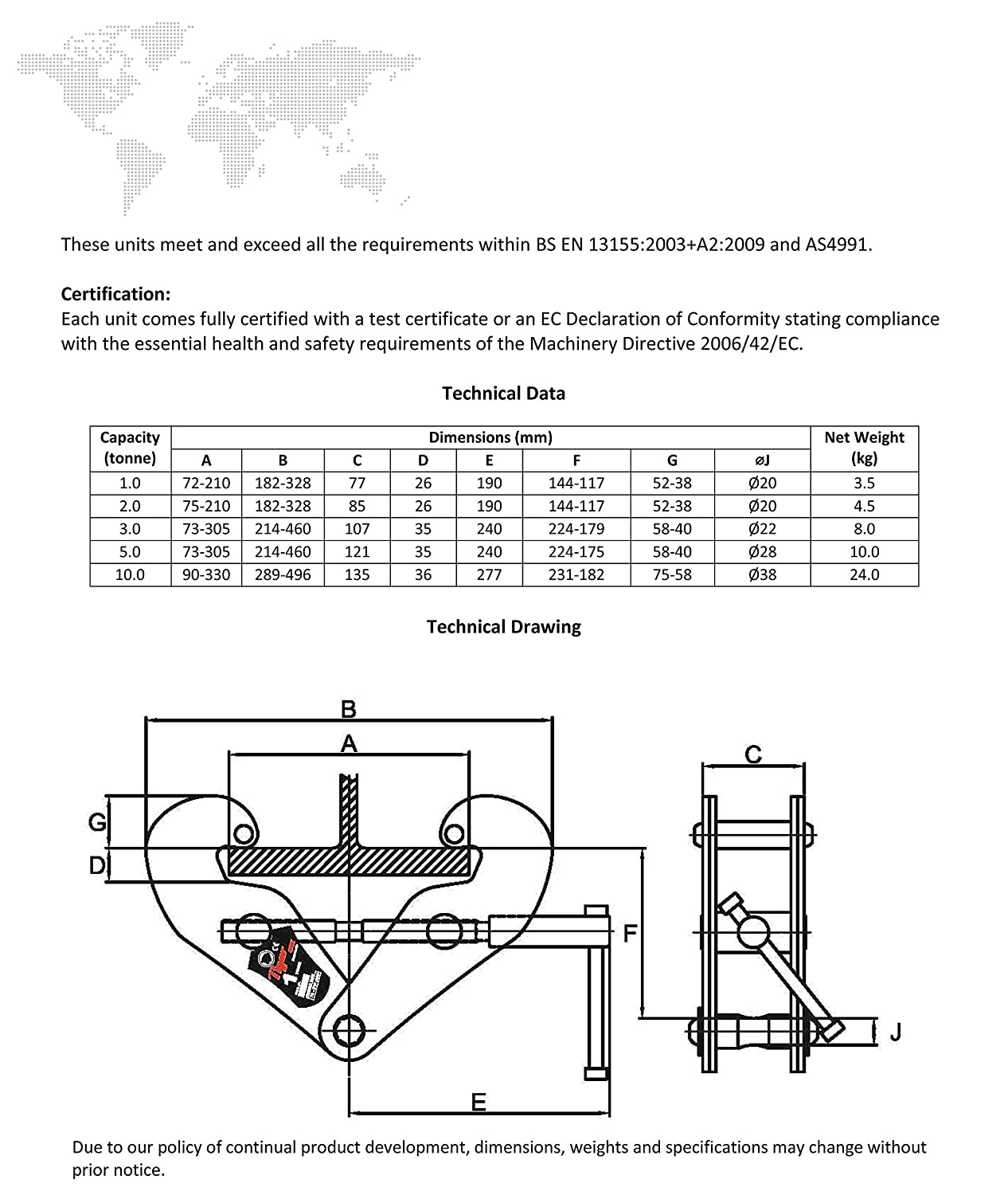 75 mm-210 mm Tiger Tiger BC-0100 Beam//Girder Clamp Width 1.0 Tons